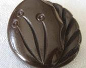 VINTAGE Large Chunky Carved Brown Bakelite Coat BUTTON