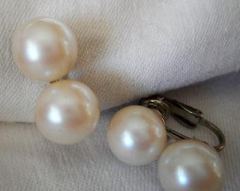 Vintage Faux Pearl Bead Costume Jewelry Clip Earrings