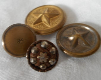 Lot of 4 VINTAGE Star Metal BUTTONS