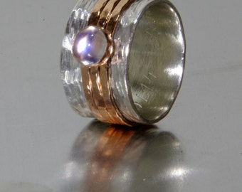 Rustic Band Style Spinner with Personalization and Rainbow Moonstone - Unique wedding ring for woman - Engraved ring- Alternative Engagement