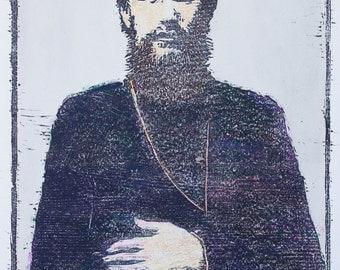 Rasputin woodblock monotype print / original prints / black and white prints / monoprints
