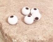 Enameled white beads Jewelry making beads Small round white beads Artisan Beads Plus