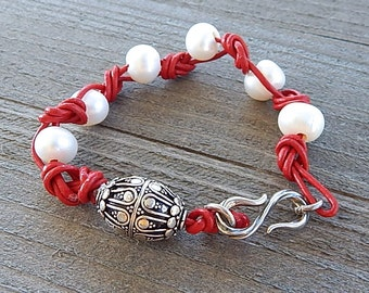 Sterling Silver Pearl Bracelet Red Leather Cord With Ornate Fine Silver Bali Focal Bead