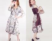 50s Silk Batik & Taffeta Dress, Jacket, Shawl, Belts + Purse Set S
