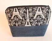 Small Zipper Pouch, Sock Knitting Bag, Eiffel Tower & Denim