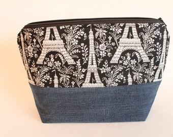 SALE Small Zipper Pouch, Sock Knitting Bag, Eiffel Tower & Denim