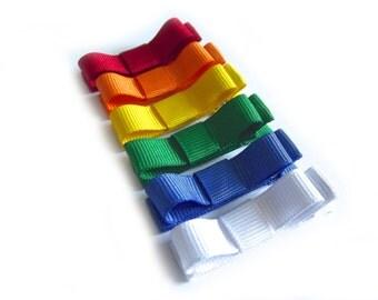 6 Rainbow Hair Clips Tuxedo Bow Hair Clips Rainbow Tuxedo Bows Rainbow Bows Red Orange Yellow Green Blue White Spring Hair Clips Summer