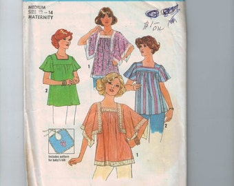 1970s Vintage Sewing Pattern Simplicity 7852 Misses Maternity Square Neck Peasant Blouse Tunic Size Medium Bust 34 36 Size 12 14 1977 70s