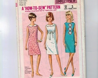 1960s Vintage Sewing Pattern Simplicity 6370 Easy Shift Dress Size 12s Bust 31 1965 60s