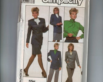 1980s Vintage Sewing Pattern Simplicity 8860 Misses Double Breasted Jacket Skirt Pants Jacket Suit LIned Size 16 Bust 38 UNCUT  99