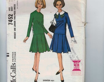 1960s Vintage Sewing Pattern McCalls 7452 Misses Two Piece Dress with Inverted Pleat Skirt Size 12 Bust 32 60s 1964  99
