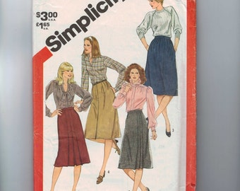 1980s Vintage Sewing Pattern Simplicity 5749 Misses A Line Skirt with Pleat Details Knee Length Size 12 Bust 34 Waist 26 27 1982