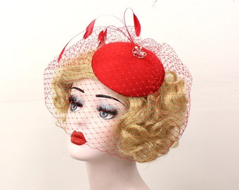 Red Hat, Red Birdcage Veil, Feather Fascinator, Pin Up, Head Piece, Cocktail Hat, Black Veil, Blusher Veil, Red Fascinator, Wedding Hat