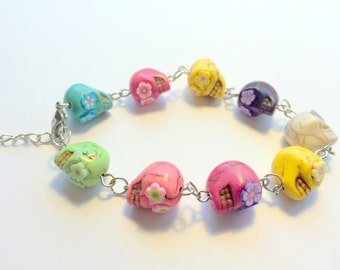 Rainbow  Day of the Dead Sugar Skull Adjustable Chain Bracelet