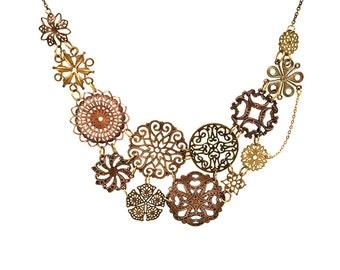 Filigree statement necklace, bridal necklace, antique copper and bronze