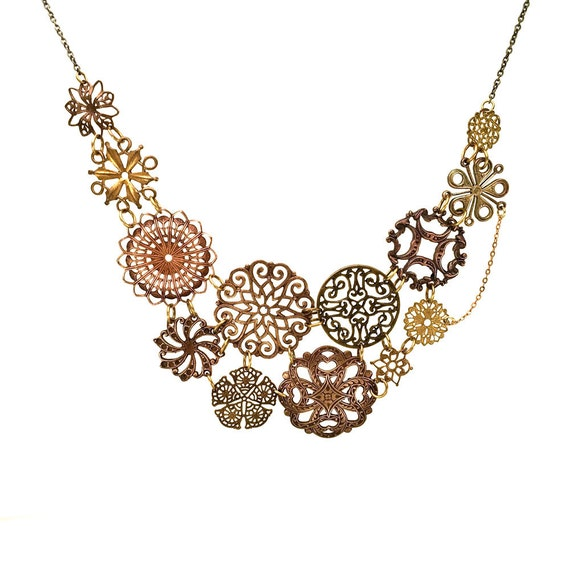 Filigree statement necklace, bridal necklace, antique copper and bronze