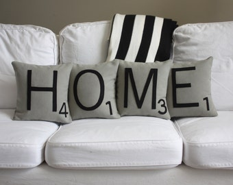 HOME Scrabble Pillows - Inserts Included // Big Scrabble Tile Pillows // Scrabble Letters // Giant Scrabble Tiles // Home Sweet Home