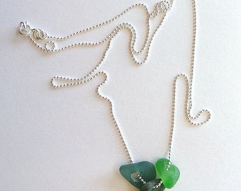Seaglass necklace on Sterling silver chain Beachglass necklace