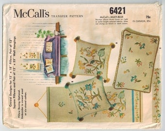 Vintage 60s Crewel Embroidery Sewing Pattern McCalls 6421 Floral Birds Trees Pillows Wall Hangings Two Designs Transfer Pattern Home Decor