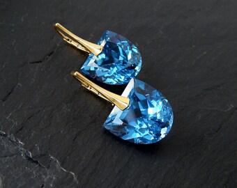 Blue Topaz Earrings: Gold Vermeil Sterling Lever Backs, Lab Topaz, fancy shape briolette dangle, yellow gold, U drop, tombstone, tongue cut
