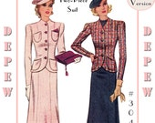Vintage Sewing Pattern Reproduction Ladies' 1930's Two-Piece Suit #3048 -Full sized PAPER VERSION