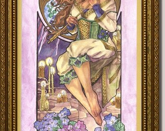 Original Art 10x20 Watercolor Painting Lady of February Art Nouveau Birthstone Birthflower Series with Violets and Candles