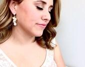 Pearl Bridal Earrings, Pearl Cluster Chandelier Earrings, CZ Cubic Zirconia, Pave Earrings, Long Pearl Earrings, Wedding Earrings, Bridal