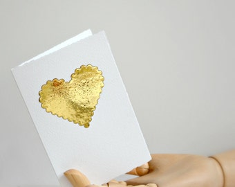 Small Gold Heart Card | Heart Card | Gold Foil Heart | Card for Lover | Card for Mother  | Wedding Engagement Valentine | Card under 5