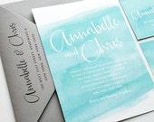 Annabelle Aqua Watercolor Beach Wedding Invitation Sample - Modern Calligraphy Script Destination Spring or Summer Blue Invitation
