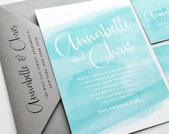 NEW Annabelle Aqua Watercolor Beach Wedding Invitation Sample - Modern Calligraphy Script Destination Spring or Summer Blue Invitation