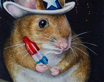Independence Day 4th of July Mouse Bomb Pop Limited Edition ACEO Giclee Print reproduced from the Original Watercolor