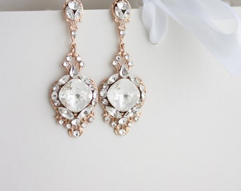 Crystal Wedding Earrings Rose Gold Vintage Bridal Earrings Swarovski Crystal Chandelier Earrings Wedding Jewelry  ESTELLA CRYSTAL EARRINGS