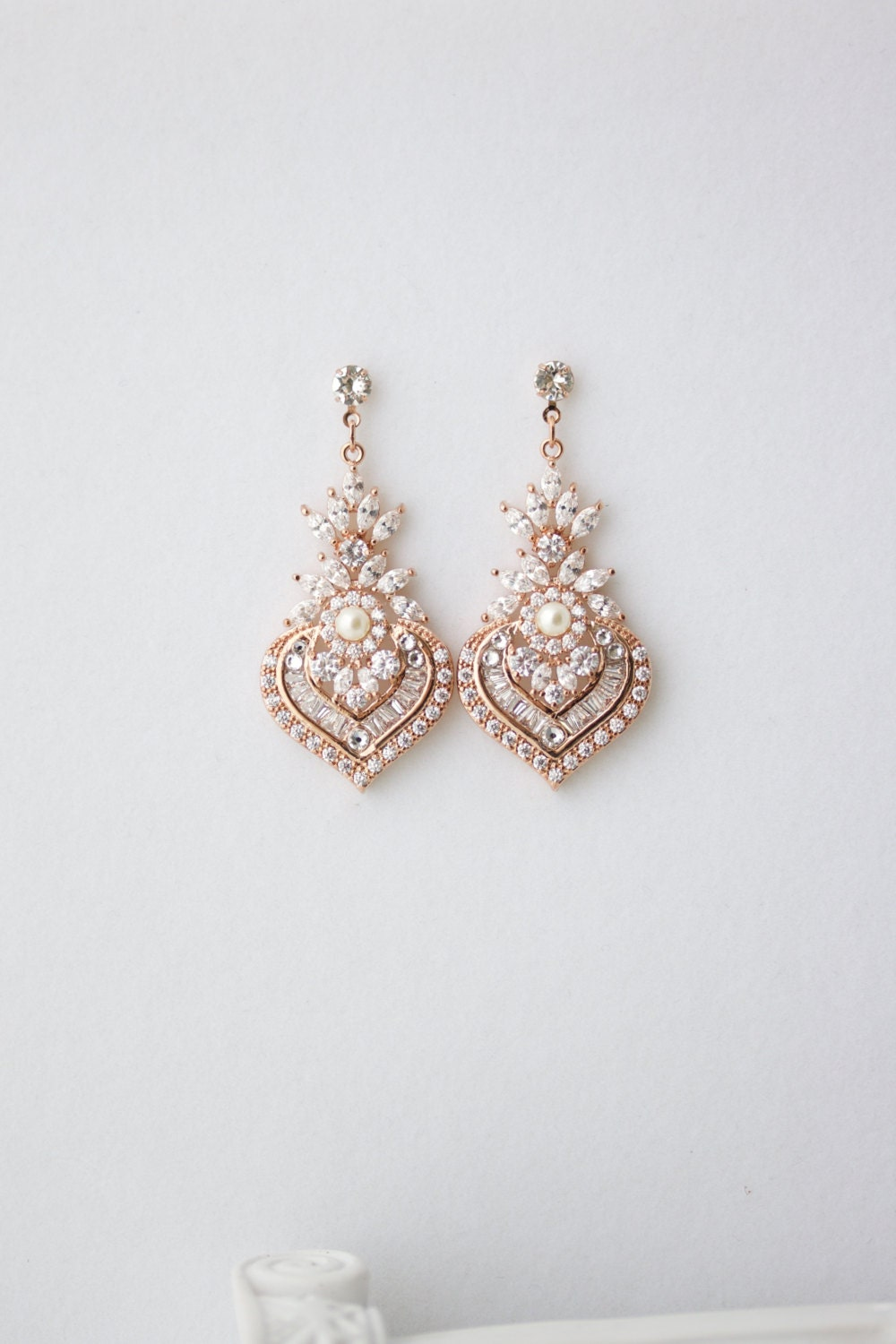 Rose Gold Earrings Bridal Earrings Rose Gold Crystal Earrings