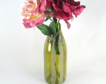 Recycled Glass Wine Bottle Vase Sandblasted Graphic Wavy Design