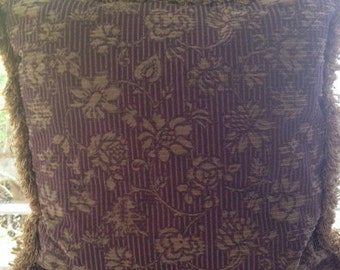 "Purple and gold 20"" pillows with brush fringe"