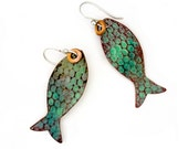 Pisces - Catch of the Day Enameled FishEarrings - Green