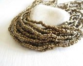 gold seed beads, opaque  gold glass  bead, freeform spacer  barrel rondelle Indonesian  bead - 1.5  to 4mm /  44 inch - 6bb5-1