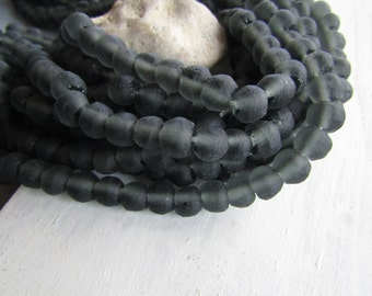 Grey Recycled glass beads , uneven round shape , matte  frosted style finish , organic irregular shape  7 to 10mm / 16 beads 6ak6-6