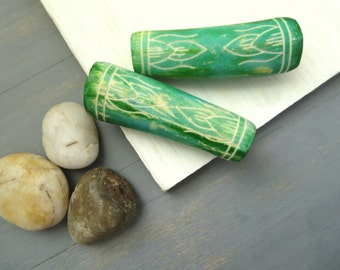green tube bone beads , chunky carved  beads , large hole , ethnic boho bohemian tribal natural exotic supplies   /  2 beads  -  5bb15