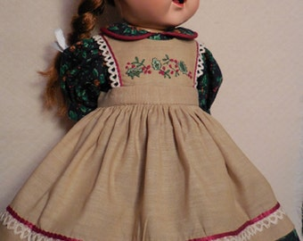 """For 16"""" Saucy Walker, Christmas Dress in Navy, Green and Cranberry with Embroidered Tan Pinafore. TREASURY ITEM"""