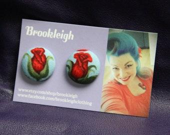 Rose bud Flower Alexander Henry 50s inspired 23mm Button Earrings, Rockabilly/ Retro/ Vintage