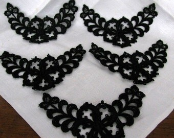 Victorian Mourning Appliqués, French, Set of Five