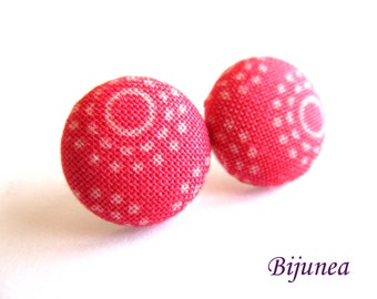 Polka dot earrings - Pink polka dot stud earrings - Pink polka dot studs - Polka dot posts - Pink polka dot post earrings sf1296
