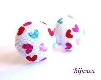Heart earrings - Pink blue heart earrings - Heart stud earrings - Heart studs - Heart post earrings - Heart posts sf1298