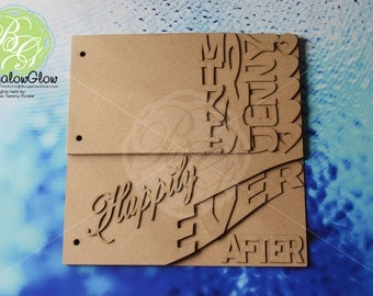 Happily Ever After Scrapbook, WEDDING Scrapbook album, Wedding Guest Book, BLANK Chipboard Album, DIY Scrapbook,  *Original Design* 9pg