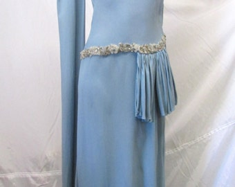Vintage 1930's 1940's Blue Crepe Evening for Gown Oscar's Night ~ Silver Glitz Puttin' on the Ritz Size Small