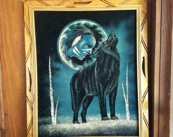 Vintage Native American Velvet Painting Full Moon Black Wolf Indian Warrior Blue White Oil Signed Painting