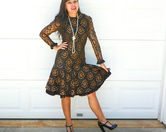 1980s Vintage Black and Copper Floral Lace Drop Waist Flapper Dress Long Sleeves Ruffle Trim Flapper Costume Size Small