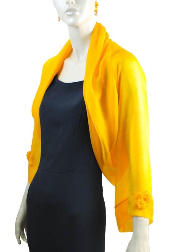 Marigold  Silk Formal Bolero Jacket FIRST LADY/  Sizes XS - 4X