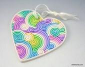 Valentine's Day Heart Ornament in Pastel Rainbow Fimo Filigree Valentine's Day Gift